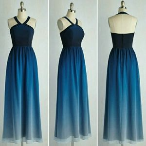 Modcloth Elegance Achieved Blue Ombre Maxi Dress